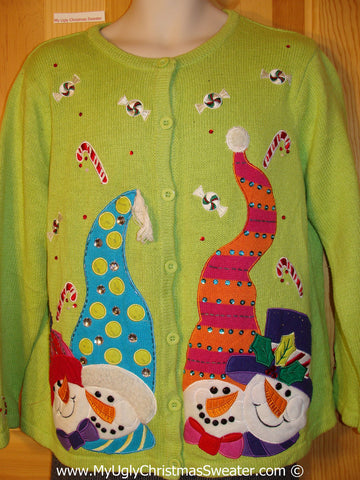Tacky Green Holiday Sweater with Four Festive Carrot Nosed Snowmen with Ridiculous Hats (f1078)