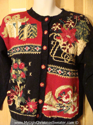 Tacky Holiday Sweater with Poinsettia, Gifts, and Horn (f1081)