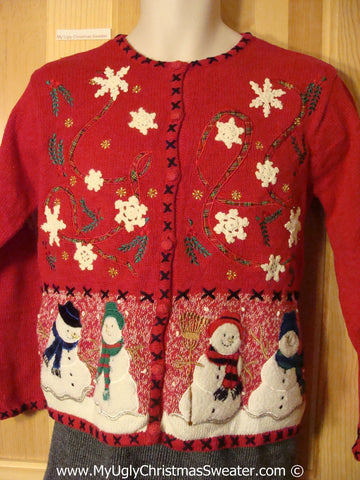 Tacky Holiday Sweater with Festive Snowflakes and Snowmen (f1082)