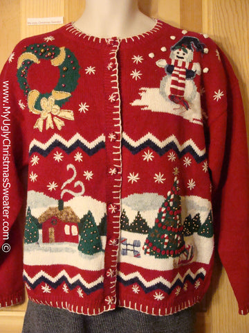 Tacky Holiday Sweater with Festive Snowman, Wreath, and Winter Wonderland Town on the Front, and a Bling Wreath on the Back (f1085)