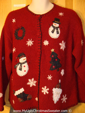 Tacky Red Holiday Sweater with Snowman Friends, Santa, Stocking, Wreath and Snowflakes (f1086)