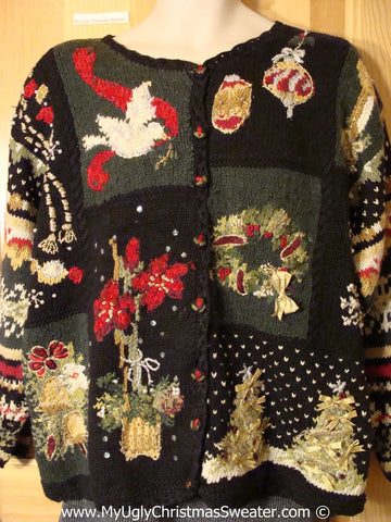 Tacky Holiday Sweater with Retro 80s Padded Shoulders and Horrid Awful Decorations (f1087)