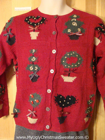 Tacky Holiday Sweater with Festive Plants on Front, Back, and Sleeves (f1088)