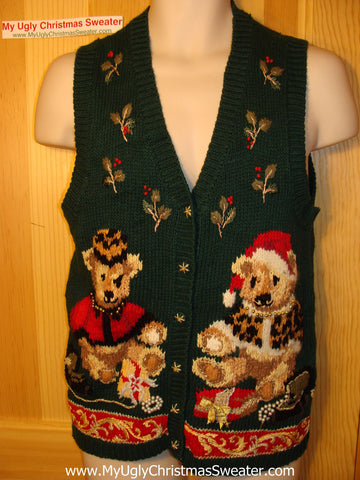 Tacky Ugly Christmas Sweater Vest. 80s Style  with Two Festive Holiday Bears and Ivy (f108)