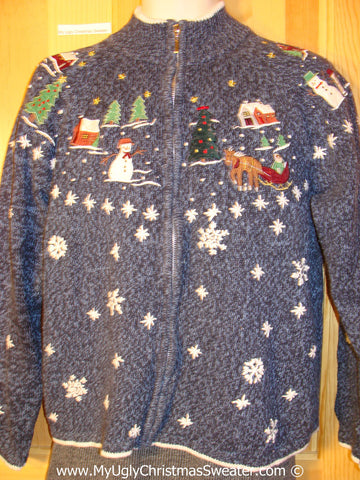 Tacky Holiday Sweater with Snowy Scene with Reindeer (f1093)