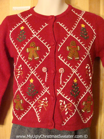 Tacky Holiday Sweater with Ginerbread Men (f1094)