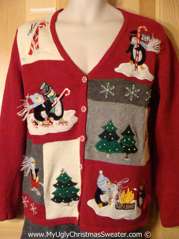 Tacky Holiday Sweater with Festive Penguins (f1095)