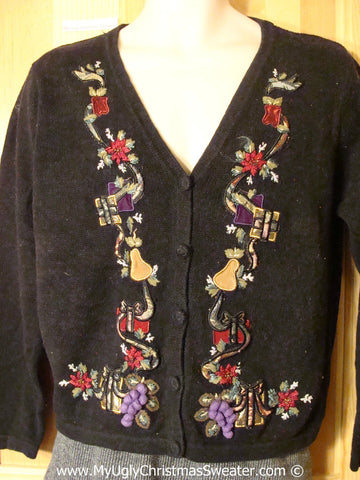 Tacky Holiday Sweater with Poinsettias and Purple Pom Pom Accents  (f1096)