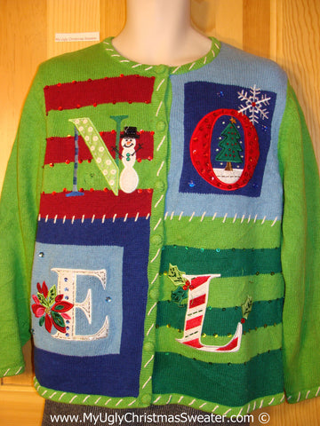 Tacky Holiday Sweater with Giant Festive NOEL (f1097)