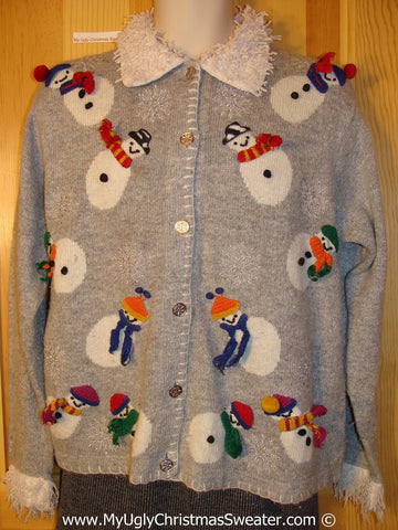Tacky Holiday Sweater with Furry Collar and 3D Scarves and Pom Pom Hat (f1098)