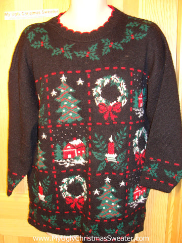 Tacky Ugly Christmas Sweater 80s Acrylic Grid-Decorated Gem (f109)