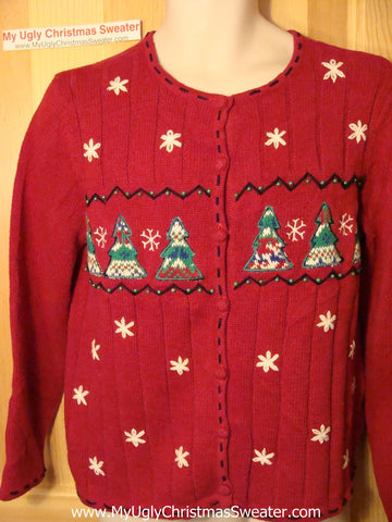 Tacky Red Ugly Christmas Sweater (f10)