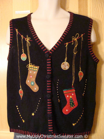 Tacky Cheesy Holiday Sweater Vest with Stockings and Ornaments (f1100)