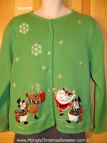Tacky Cheesy Green Holiday Sweater with Skating Santa, Reindeer, and Snowmen with Leopard Patterned Clothes (f1101)