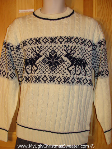 Tacky Vintage Dueling Reindeer Cheesy Holiday Sweater (f1102)