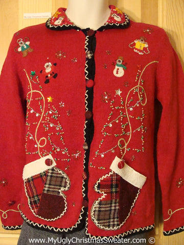 Tacky Cheesy Holiday Sweater with Plaid Pockets and Bling Trees (f1103)