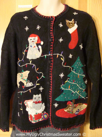 Crazy Cat Lady Tacky Cheesy Holiday Sweater with Five Festive Cats and Decorations (f1105)