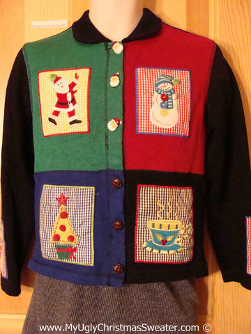 Tacky Cheesy Holiday Sweater with Checkerboard Patchwork Decorations with Santa, Tree, Snowman, and Cocoa (f1108)