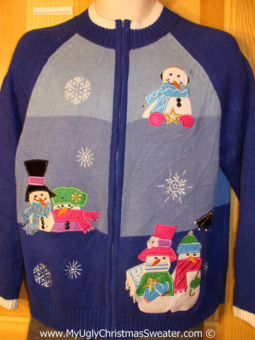 Tacky Cheesy Holiday Sweater with Festive Carrot Nosed Snowman Friends (f1109)