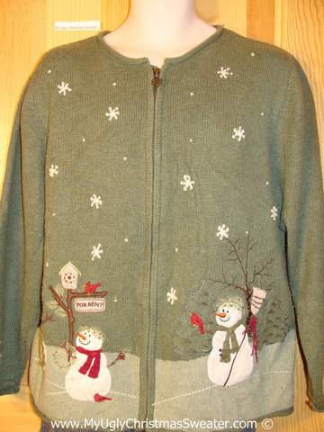 Tacky Cheesy Holiday Sweater with Festive Snowman Friends on Front and Back (f1110)
