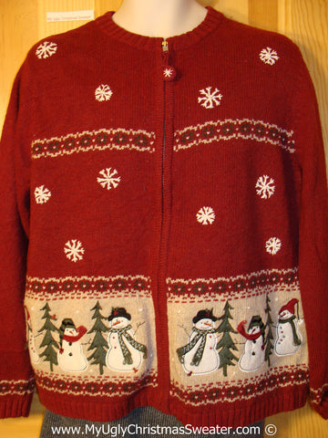 Tacky Cheesy Holiday Sweater with Festive Snowman Friends and Nordic Stripes  (f1111)