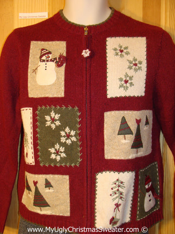 Tacky Cheesy Holiday Sweater with Festive Patchwork Patches with Snowman, Snowflakes, and Trees (f1112)
