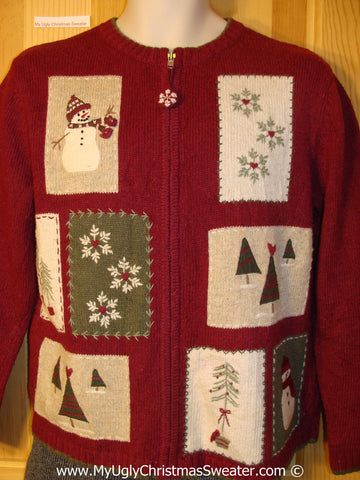 Tacky Cheesy Holiday Sweater with Festive Patchwork Patches with Snowman, Snowflakes, and Trees (f1113)
