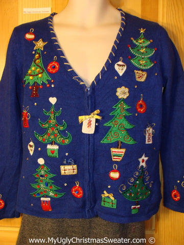 Tacky Cheesy Holiday Sweater with Bling Trees and Ornaments (f1114)