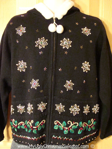 Tacky Cheesy Holiday Sweater Hoodie with Dangling Pom Pom Zipper Pull (f1115)