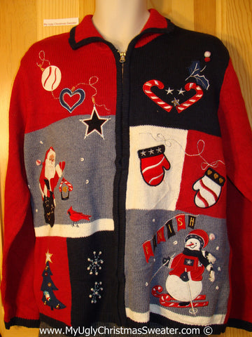 Tacky Patriotic Cheesy Holiday Sweater with Stars and Stripes Snowman, Santa, and Mittens (f1117)