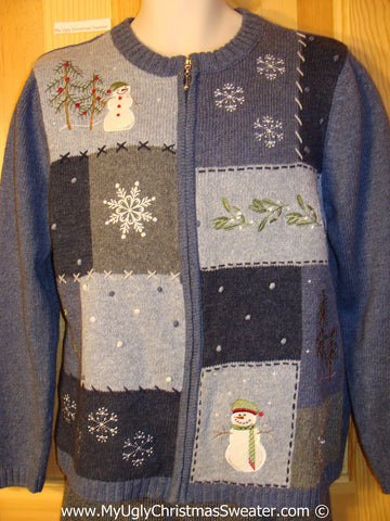 Tacky Cheap Cheesy Holiday Sweater with Patchwork of Snowflakes and Snowman Friends (f1119)