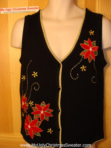 Tacky Ugly Christmas Sweater Vest with Blingy Gold Thread Embroidery and Poinsettias (f111)