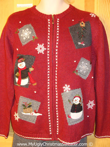 Cheap Tacky Cheesy Holiday Sweater with Crafty Patchwork Snowman Friends and Snowflakes (f1120)