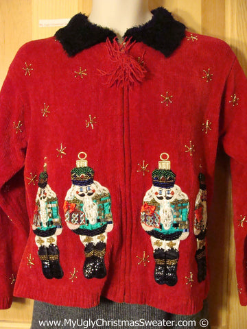 Awesome Bling Filled Tacky Cheesy Holiday Sweater with Nutcrackers on Front and Back and Furry Collar (f1121)