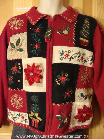 Tacky Cheesy Holiday Sweater with Crafty Patchwork Grid of Poinsettias and Ivy (f1122)