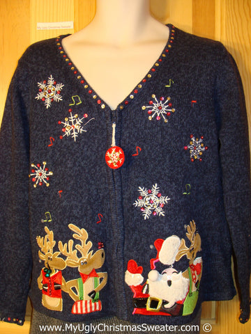 Tacky Cheesy Holiday Sweater with Santa and Reindeer (f1123)