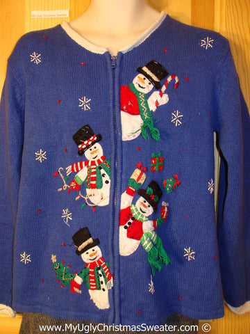 Tacky Cheesy Holiday Sweater with Festive Snowman Friends with Yarn Scarves Juggling Gifts and 80s Style Padded Shoulders  (f1124)