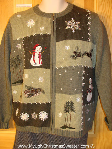 Tacky Cheesy Holiday Sweater with Crafty Patchwork Grid of Snowman Friends and Snowflakes (f1125)