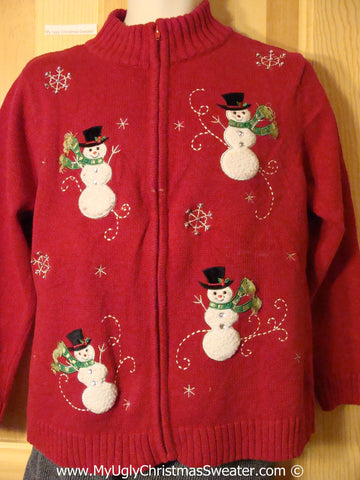 Tacky Red Cheesy Holiday Sweater with Snowman Friends in a Snowy Winter Wonderland (f1126)