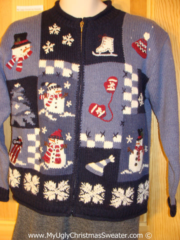 Tacky Cheesy Holiday Sweater with Crafter Checkerboard Grid of Festive Fun  (f1128)