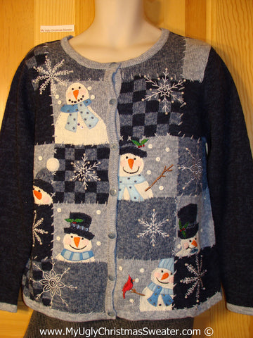 Tacky Cheesy Holiday Sweater with Crafty Checkerboard Grid with Snowman Friends and Snowflakes (f1130)