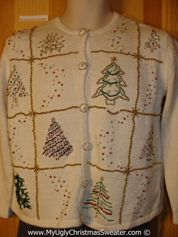 Tacky Cheesy Holiday Sweater with Bead Bling Trees (f1132)