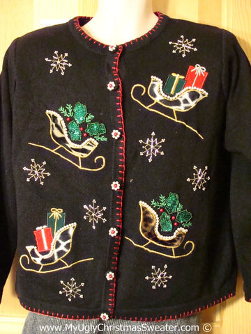 Tacky Cheesy Holiday Sweater with Bling Ivy and Snowflakes and Leopard Animal Print Sleighs. 80s Style Padded Shoulders (f1133)