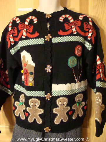 Gingerbread Themed Tacky Cheesy Holiday Sweater with CandyCane (f1135)