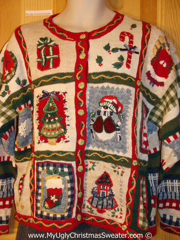 Tacky Busy Horrid Cheesy Holiday Sweater with Festive Decorations on Front and Stripes and Checkerboard on Back and Sleeves  (f1136)