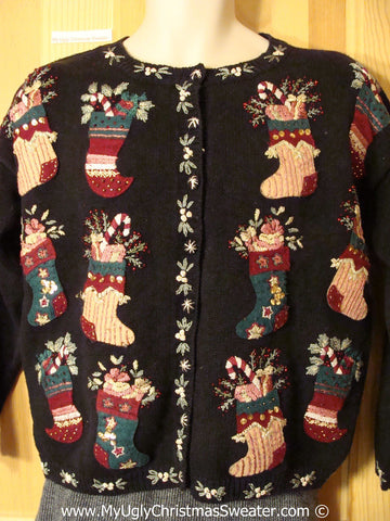 Tacky Cheesy Holiday Sweater with 80s Style Padded Shoulders and Festive Rows of Stockings (f1137)