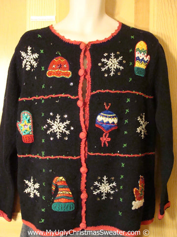 Tacky Cheesy Holiday Sweater with Crafty Grid of Mittens, Hats, and Snowflakes(f1139)