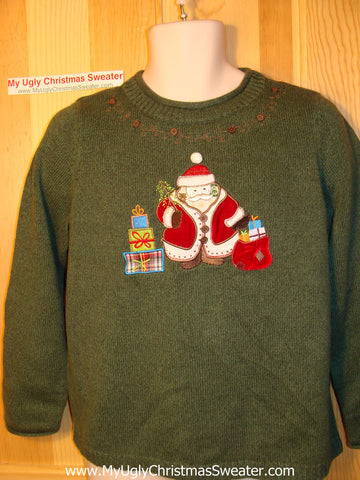 Tacky Ugly Christmas Sweater with Santa and Gifts (f113)