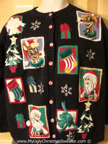 Tacky Cheesy Holiday Sweater with Patchwork Style Santa and Reindeer (f1140)
