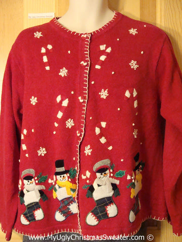 Tacky Red Cheesy Holiday Sweater with Snowman Friends in Plaid Stockings with Floating Candycanes and Snowflakes (f1141)